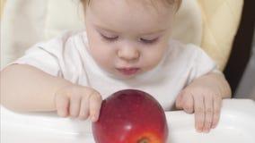 Το μικρό μωρό δαγκώνει το κόκκινο μήλο απόθεμα βίντεο