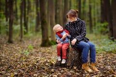 Το μικρό παιδί με τη νέα μητέρα του απολαμβάνει τον περίπατο στο δάσος Στοκ Εικόνα