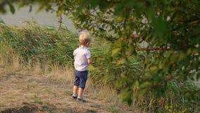 Το μικρό παιδί ρίχνει μια πέτρα στη λίμνη το καλοκαίρι απόθεμα βίντεο