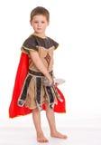 Το μικρό παιδί έντυσε ως ιππότης Στοκ φωτογραφία με δικαίωμα ελεύθερης χρήσης