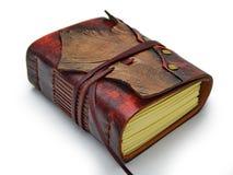 Το μικρό περιοδικό δέρματος με το ελεφαντόδοντο τόνισε το έγγραφο και την κάλυψη από δύο διαφορετικά χρώματα δέρματος στοκ φωτογραφίες