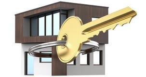 Το μικρό σπίτι δίπλα σε το είναι τα κλειδιά Σύμβολο της μίσθωσης ενός σπιτιού για το μίσθωμα, πώληση ενός σπιτιού, που αγοράζει έ στοκ φωτογραφίες