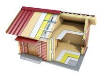 Το μικρό σπίτι πλαισίων στην περικοπή τρισδιάστατη απεικόνιση Στοκ εικόνα με δικαίωμα ελεύθερης χρήσης
