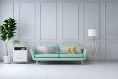 Το μινιμαλιστικό άσπρο εσωτερικό σχέδιο δωματίων, πράσινος καναπές με τις εγκαταστάσεις στον άσπρο τοίχο το /3d δίνει Στοκ Εικόνες