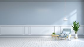 το μινιμαλιστικό εσωτερικό δωμάτιο, η ανοικτό μπλε πολυθρόνα στο άσπρο δάπεδο και ο ανοικτό μπλε τοίχος το /3d δίνουν διανυσματική απεικόνιση