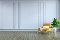 Το μινιμαλιστικό εσωτερικό σχέδιο δωματίων, η κίτρινη πολυθρόνα και ο άσπρος λαμπτήρας στο ξύλινο δάπεδο και τον άσπρο τοίχο το / ελεύθερη απεικόνιση δικαιώματος