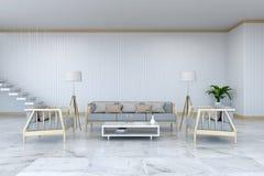 Το μινιμαλιστικό εσωτερικό σχέδιο δωματίων, η ξύλινοι πολυθρόνα και ο καναπές στο μαρμάρινο πάτωμα και άσπρο room/3d δίνουν ελεύθερη απεικόνιση δικαιώματος