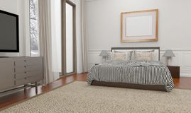 Το μινιμαλιστικό και Σκανδιναβικό ύφος με την άνετη κρεβατοκάμαρα εσωτερική και τρισδιάστατη δίνει απεικόνιση αποθεμάτων