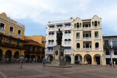Το μνημείο στον ιδρυτή του conquistador της Καρχηδόνας φορά το Pedro de Heredia Καρχηδόνα Στοκ Φωτογραφία