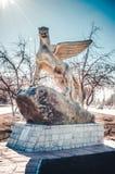 Το μνημείο της λεοπάρδαλης χιονιού στο Καζακστάν Στοκ φωτογραφίες με δικαίωμα ελεύθερης χρήσης