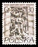 Το μνημείο του ήρωα γκέτο, μνημεία της Βαρσοβίας serie, circa 1956 στοκ εικόνα