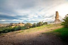 Το μνημείο Philopappos είναι μαυσωλείο και μνημείο αρχαίου Έλληνα που αφιερώνονται σε Gaius Julius Antiochus Epiphanes Philopappo Στοκ Εικόνες