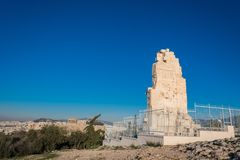 Το μνημείο Philpappos, ένα μαυσωλείο αρχαίου Έλληνα αφιέρωσε σε Philopappus έναν πρίγκηπα από το βασίλειο Commagene Αυτό Στοκ Εικόνες