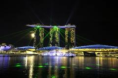 Το μοναδικό και εικονικό κτήριο, κόλπος μαρινών στρώνει με άμμο την οικοδόμηση, κόλπος μαρινών, Σινγκαπούρη Στοκ εικόνες με δικαίωμα ελεύθερης χρήσης