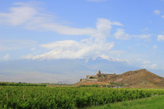 Το μοναστήρι και το Ararat Khor Virap τοποθετούν Στοκ εικόνα με δικαίωμα ελεύθερης χρήσης