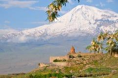 Το μοναστήρι Virap Khor και τοποθετεί Ararat, Αρμενία Στοκ Εικόνες