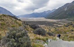 Το μονοπάτι για βάδισμα στις μπλε λίμνες και την άποψη παγετώνων Tasman, Aoraki/τοποθετεί Cook με τον ποταμό Tasman που βλέπει στ Στοκ Εικόνες