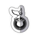 το μονοχρωματικό περίγραμμα αυτοκόλλητων ετικεττών με τον αετό πέρα από το στρογγυλό πλαίσιο με την κορδέλλα και η ελιά στέφουν Στοκ εικόνες με δικαίωμα ελεύθερης χρήσης