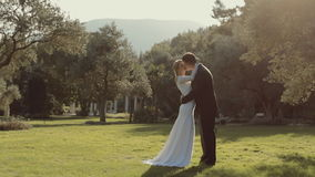 Το μοντέρνο νέο γαμήλιο ζεύγος φιλά το ένα το άλλο απόθεμα βίντεο
