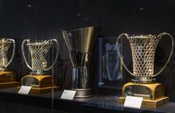 Το μουσείο της λέσχης ποδοσφαίρου της Real Madrid κοιλαίνει και απονέμει τη λέσχη στοκ φωτογραφίες