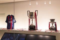 Το μουσείο των τροπαίων των φλυτζανιών και των βραβείων της ομάδας FC Βαρκελώνη του στρατόπεδου Nou Στοκ εικόνες με δικαίωμα ελεύθερης χρήσης