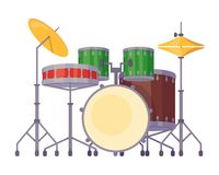 Το μουσικό όργανο κρούσης, εξάρτηση τυμπάνων με τα υγιή βαρέλια, πιάτα, κολλά απεικόνιση αποθεμάτων