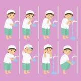 Το μουσουλμανικό αγόρι εκτελεί τη διανυσματική συλλογή βημάτων πλύσης διανυσματική απεικόνιση