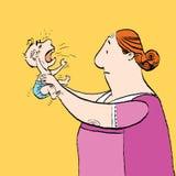 Το μπέιμπι σίτερ και το μωρό φωνάζουν Στοκ Εικόνες