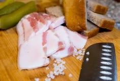 Το μπέϊκον που τεμαχίζεται με το ψωμί και τα τουρσιά σίκαλης στον τέμνοντα πίνακα Στοκ εικόνες με δικαίωμα ελεύθερης χρήσης