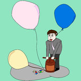 Το μπαλόνι αντλιών για γράφει κάτι Στοκ φωτογραφία με δικαίωμα ελεύθερης χρήσης
