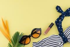 Το μπικίνι, τα γυαλιά ηλίου και το χείλι σχολιάζουν Στοκ Εικόνα