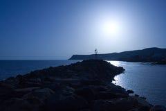 το μπλε θέτει τον ήλιο Στοκ φωτογραφία με δικαίωμα ελεύθερης χρήσης