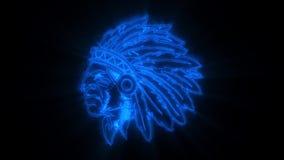 Το μπλε ινδικό ζωντανεψοντα πολεμιστής λογότυπο με αποκαλύπτει την επίδραση ελεύθερη απεικόνιση δικαιώματος
