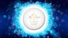 Το μπλε πρότυπο καρτών Χριστουγέννων νύχτας τεμαχίζει τον κύκλο ελεύθερη απεικόνιση δικαιώματος