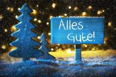 Το μπλε χριστουγεννιάτικο δέντρο, Alles Gute σημαίνει Με τις καλύτερες ευχές Snowflakes Στοκ φωτογραφία με δικαίωμα ελεύθερης χρήσης