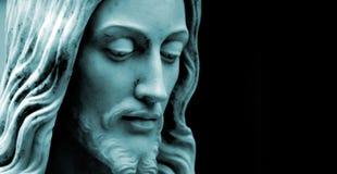 το μπλε duo αντιγράφων διάστημα φωτογραφιών του Ιησού τόνισε Στοκ Εικόνες