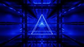 Το μπλε wireframe με την ταπετσαρία υποβάθρου σηράγγων τρισδιάστατη δίνει vjloop διανυσματική απεικόνιση