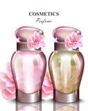 Το μπουκάλι αρώματος γυναικών αυξήθηκε άρωμα Τα ρεαλιστικά διανυσματικά σχέδια συσκευασίας προϊόντων χλευάζουν επάνω διανυσματική απεικόνιση