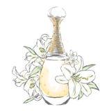 το μπουκάλι ουσιαστικό ανθίζει το άρωμα πετρελαίου διανυσματική απεικόνιση