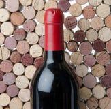 Το μπουκάλι του κρασιού σε ένα υπόβαθρο βουλώνει Στοκ Εικόνα