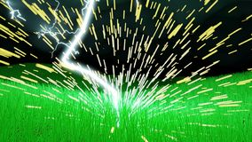 Το μπουλόνι φωτισμού χτυπά έναν τομέα της χλόης με το πέταγμα σπινθήρων ελεύθερη απεικόνιση δικαιώματος