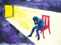 Το μπλε άτομο στο σκοτεινό δωμάτιο με το ανοικτό παράθυρο και ο φωτισμός λάμπουν διανυσματική απεικόνιση