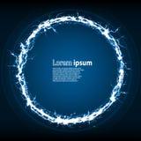 Το μπλε ακτινοβολεί αφηρημένο σχεδιάγραμμα αφισών κομμάτων με το πλαίσιο κύκλων διανυσματική απεικόνιση