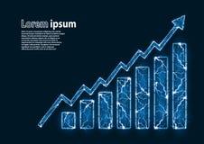 Το μπλε ακτινοβολεί εικόνα ενός διαγράμματος αύξησης που διαμορφώνεται από την αστραπή διανυσματική απεικόνιση