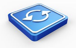 Το μπλε αναζωογονεί το κουμπί τρισδιάστατο Στοκ Φωτογραφία