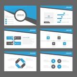 Το μπλε αφηρημένο μέγεθος προτύπων στοιχείων παρουσίασης περιοδικών ιπτάμενων εκθέσεων φυλλάδιων a4 έθεσε για τον ιστοχώρο μάρκετ Στοκ Εικόνες
