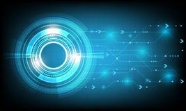 Το μπλε διανυσματικό αφηρημένο υπόβαθρο παρουσιάζει την καινοτομία της τεχνολογίας και των τεχνολογικών εννοιών Στοκ Εικόνες