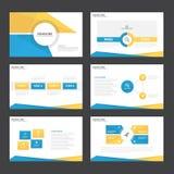 Το μπλε κίτρινο επίπεδο σχέδιο στοιχείων Infographic προτύπων παρουσίασης έθεσε για το μάρκετινγκ φυλλάδιων ιπτάμενων φυλλάδιων απεικόνιση αποθεμάτων