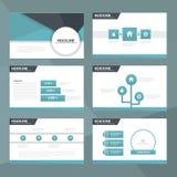Το μπλε και μαύρο επίπεδο σχέδιο στοιχείων Infographic προτύπων παρουσίασης έθεσε για το μάρκετινγκ φυλλάδιων ιπτάμενων φυλλάδιων Στοκ φωτογραφία με δικαίωμα ελεύθερης χρήσης