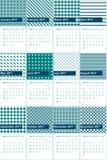 Το μπλε και το παρατηρητήριο κιρκιριών χρωμάτισαν το γεωμετρικό ημερολόγιο το 2016 σχεδίων Στοκ Εικόνα